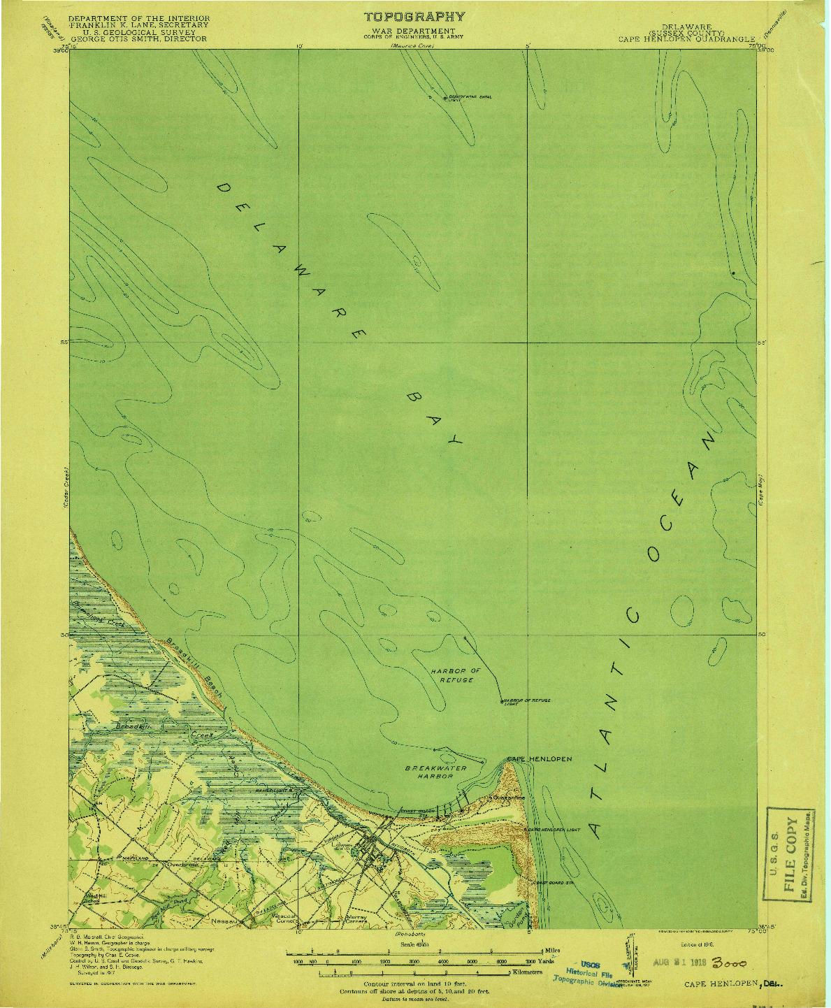 USGS 1:62500-SCALE QUADRANGLE FOR CAPE HENLOPEN, DE 1918