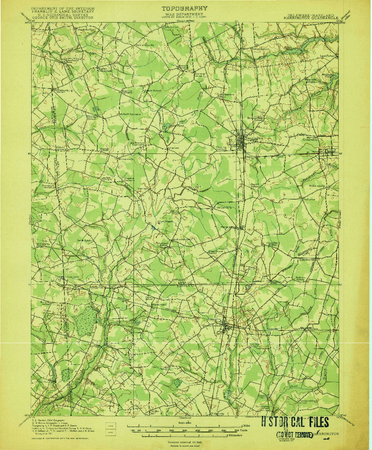 USGS 1:62500-SCALE QUADRANGLE FOR HARRINGTON, DE 1918