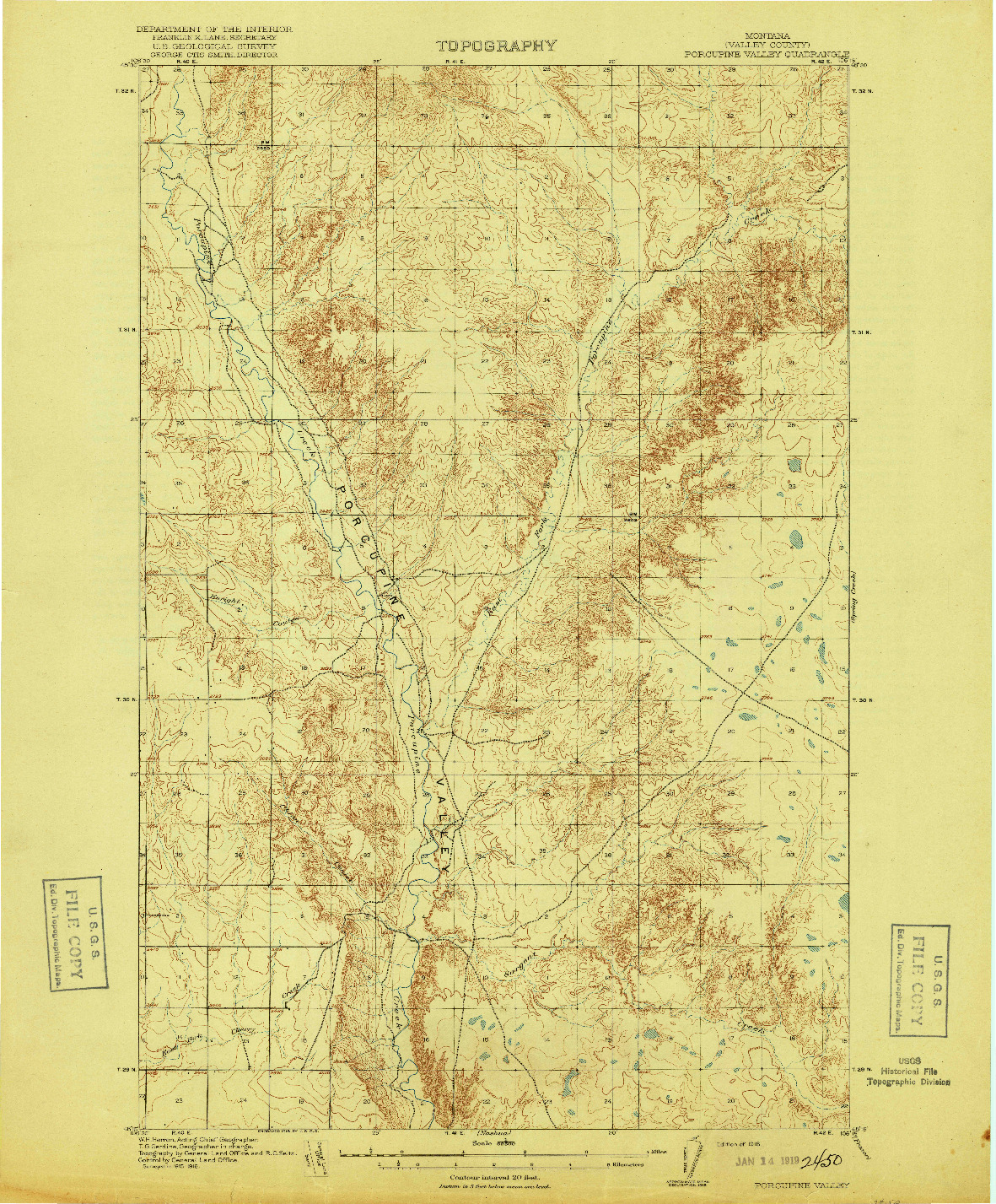 USGS 1:62500-SCALE QUADRANGLE FOR PORCUPINE VALLEY, MT 1918