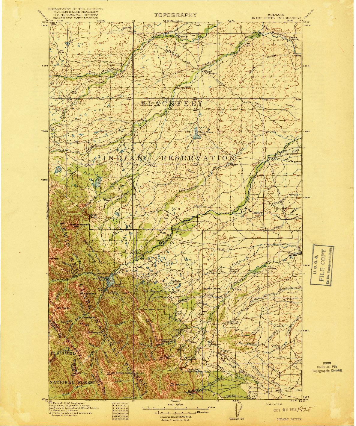 USGS 1:125000-SCALE QUADRANGLE FOR HEART BUTTE, MT 1918