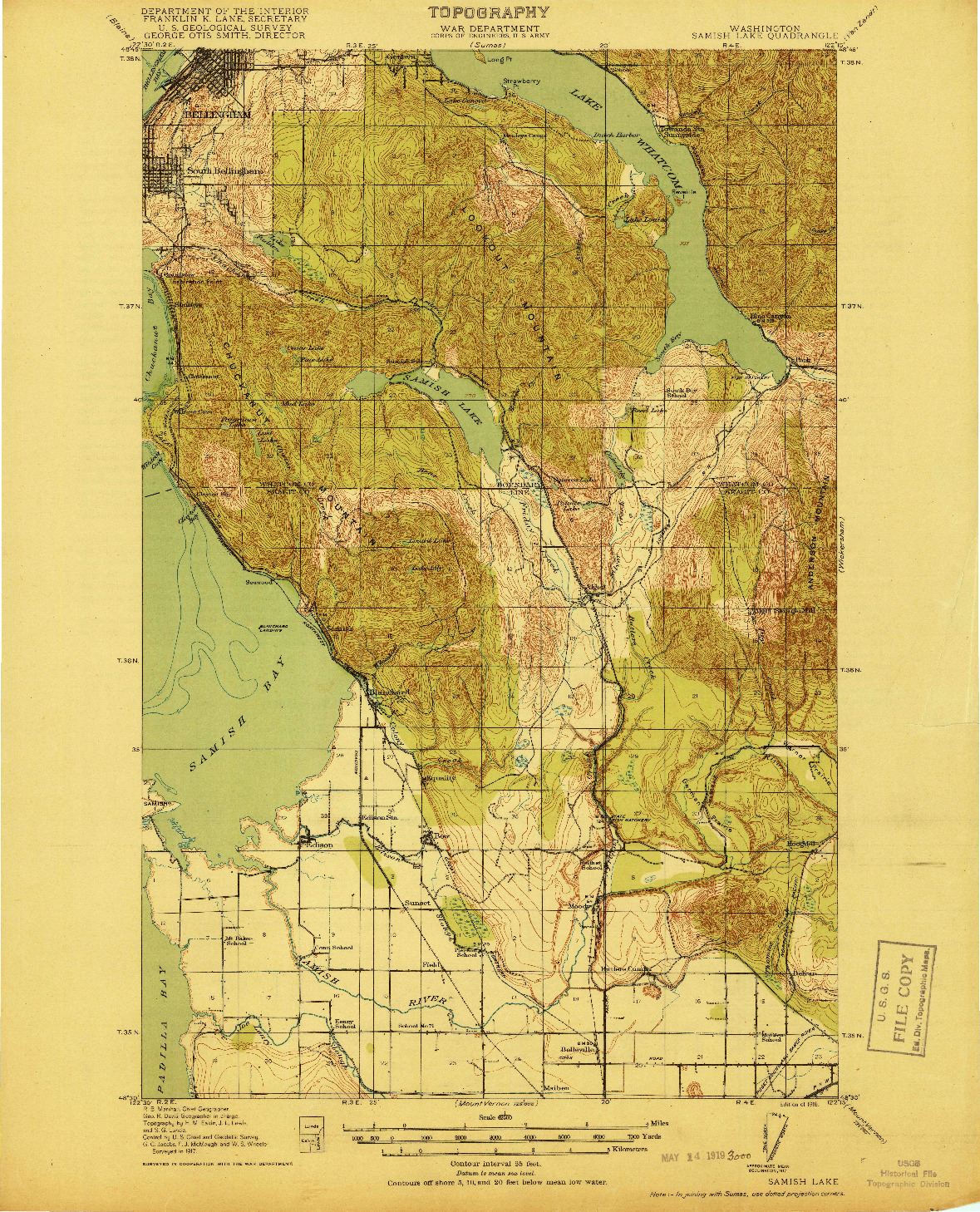 USGS 1:62500-SCALE QUADRANGLE FOR SAMISH LAKE, WA 1918