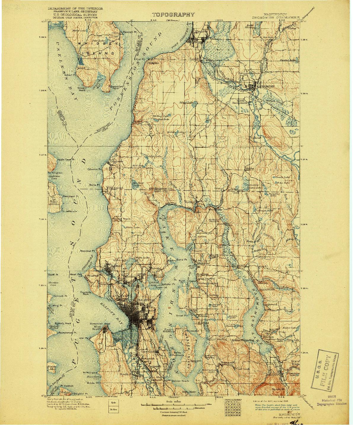 USGS 1:125000-SCALE QUADRANGLE FOR SNOHOMISH, WA 1897