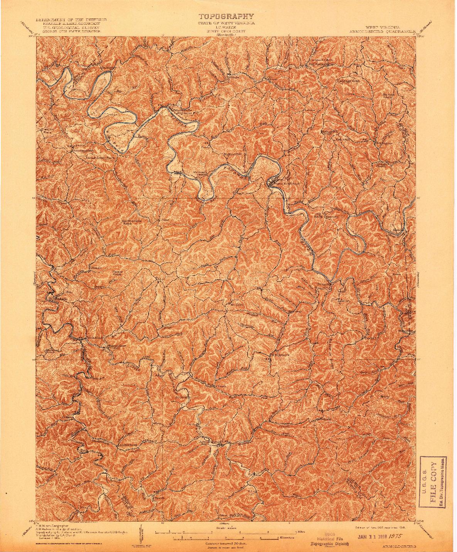USGS 1:62500-SCALE QUADRANGLE FOR ARNOLDSBURG, WV 1907