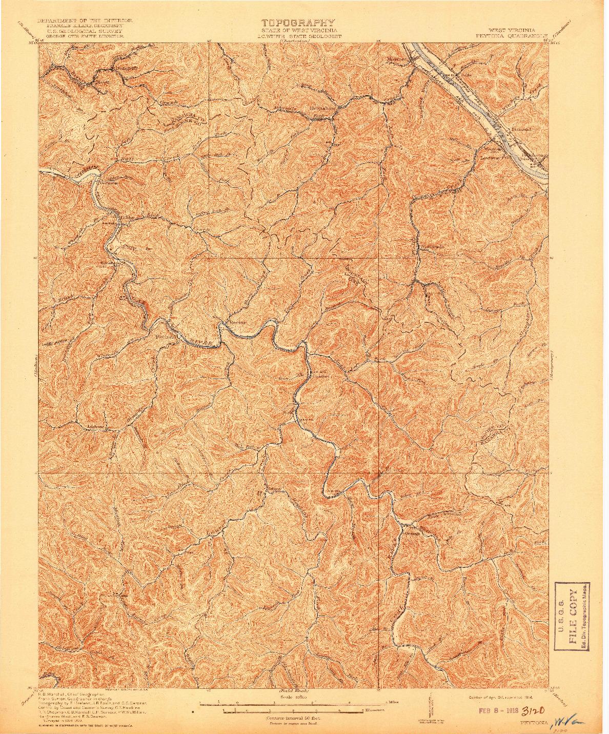 USGS 1:62500-SCALE QUADRANGLE FOR PEYTONA, WV 1911