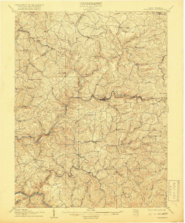 USGS 1:62500-SCALE QUADRANGLE FOR THORNTON, WV 1907