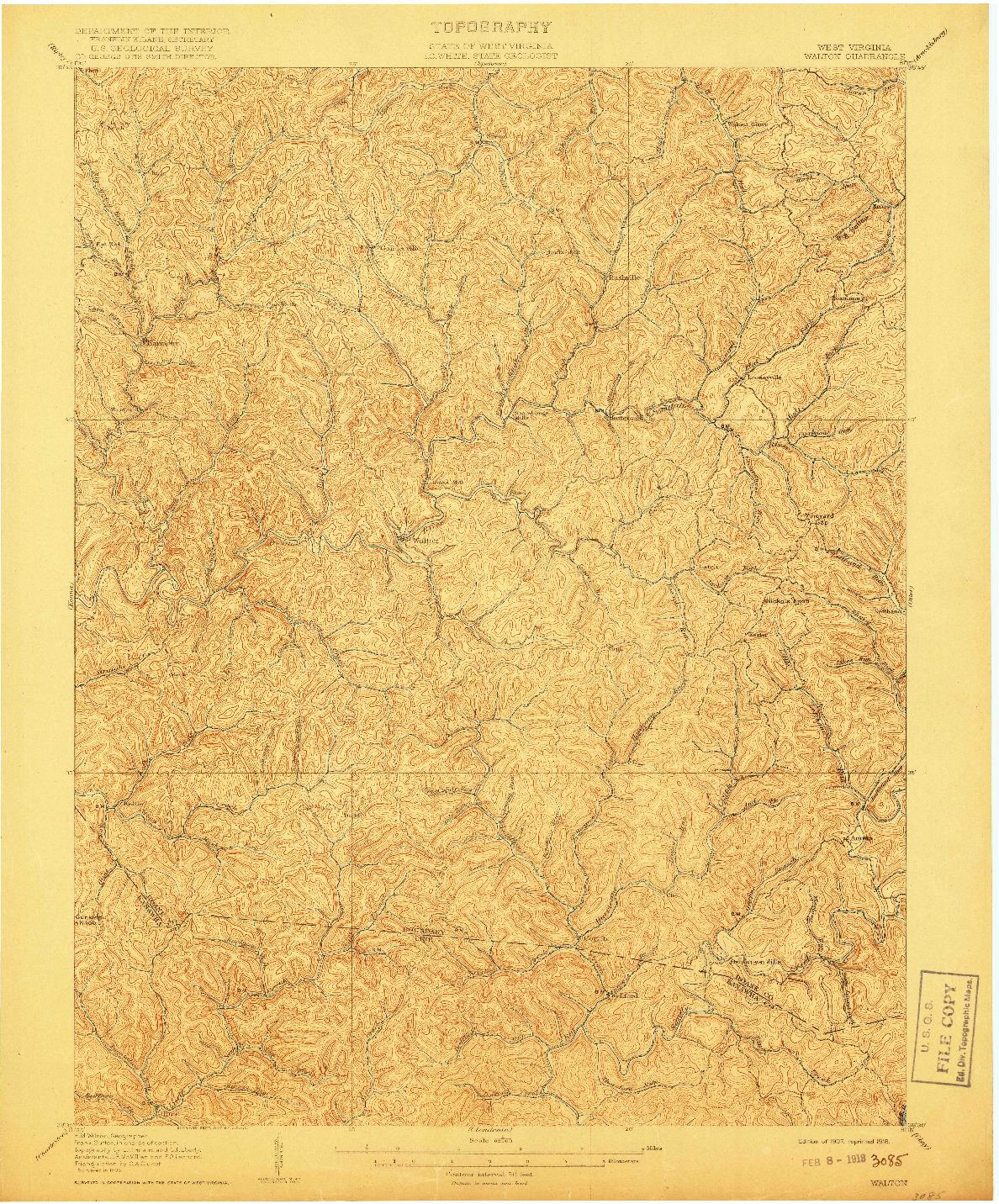 USGS 1:62500-SCALE QUADRANGLE FOR WALTON, WV 1907