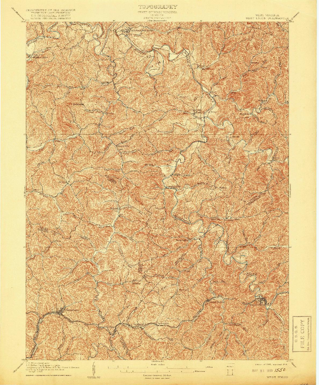 USGS 1:62500-SCALE QUADRANGLE FOR WEST UNION, WV 1905
