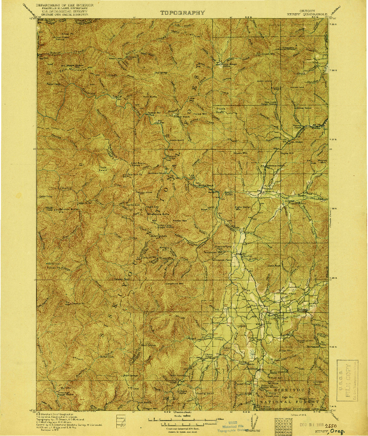 USGS 1:125000-SCALE QUADRANGLE FOR KERBY, OR 1918