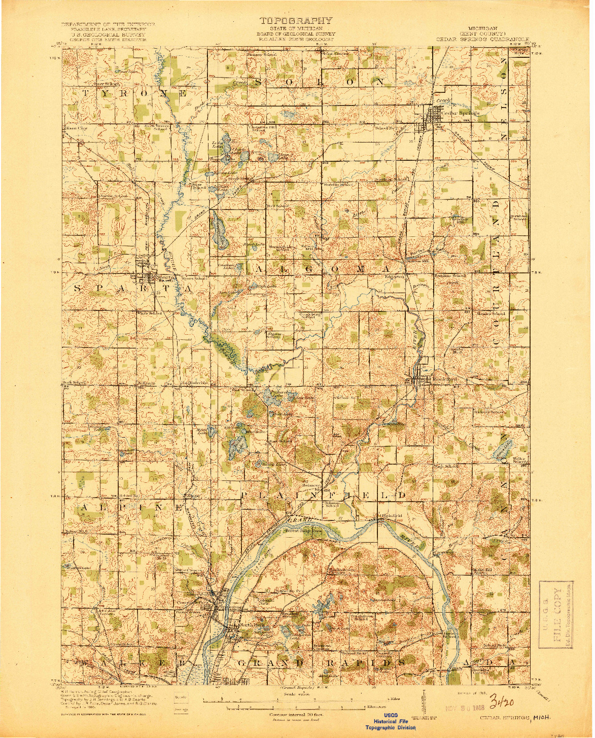 USGS 1:62500-SCALE QUADRANGLE FOR CEDAR SPRINGS, MI 1918