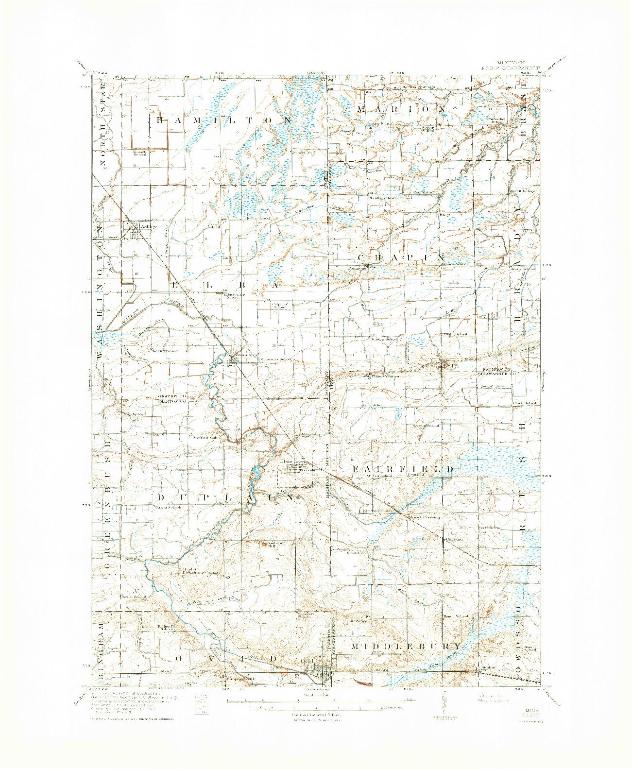 USGS 1:62500-SCALE QUADRANGLE FOR ELSIE, MI 1918