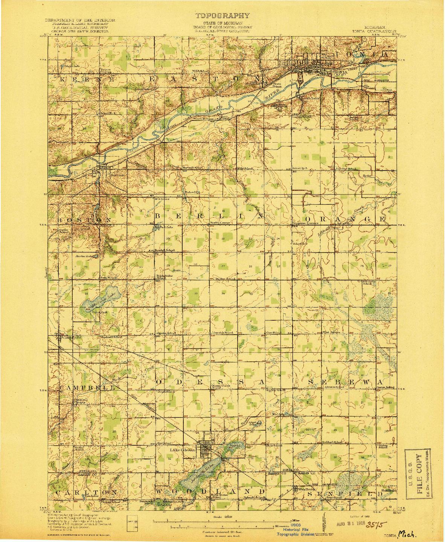 USGS 1:62500-SCALE QUADRANGLE FOR IONIA, MI 1918