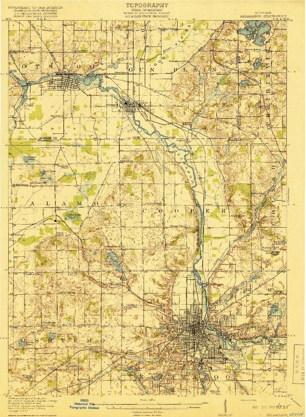 USGS 1:62500-SCALE QUADRANGLE FOR KALAMAZOO, MI 1918