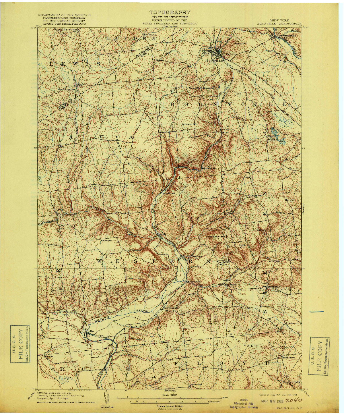 USGS 1:62500-SCALE QUADRANGLE FOR BOONVILLE, NY 1904