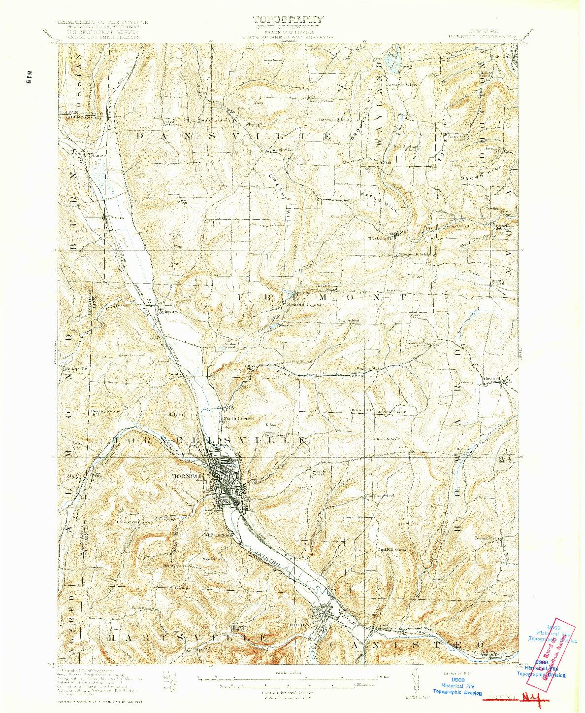 USGS 1:62500-SCALE QUADRANGLE FOR HORNELL, NY 1918