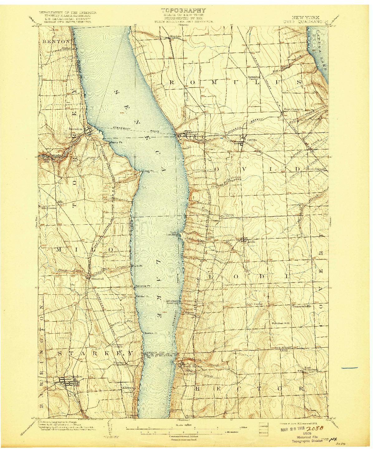 USGS 1:62500-SCALE QUADRANGLE FOR OVID, NY 1902