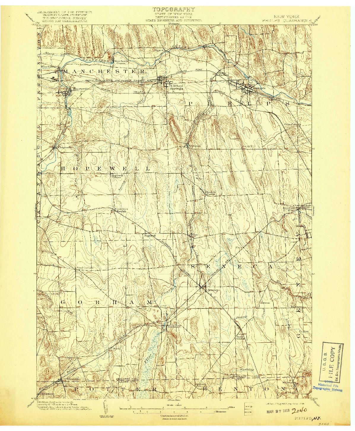 USGS 1:62500-SCALE QUADRANGLE FOR PHELPS, NY 1902