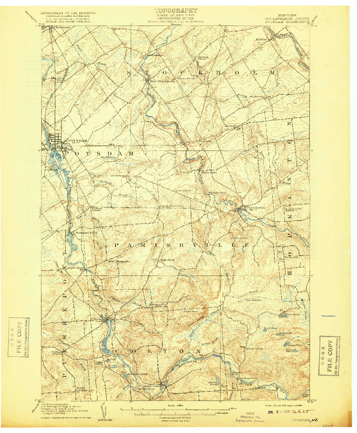 USGS 1:62500-SCALE QUADRANGLE FOR POTSDAM, NY 1908