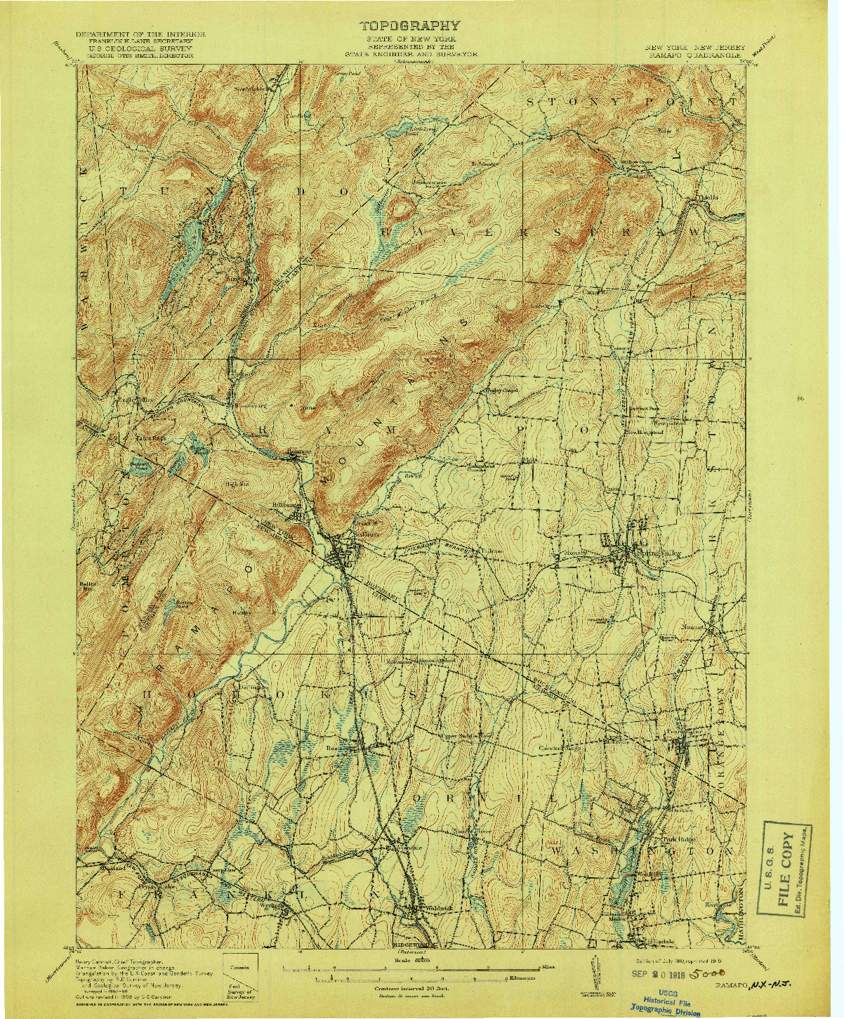 USGS 1:62500-SCALE QUADRANGLE FOR RAMAPO, NY 1910