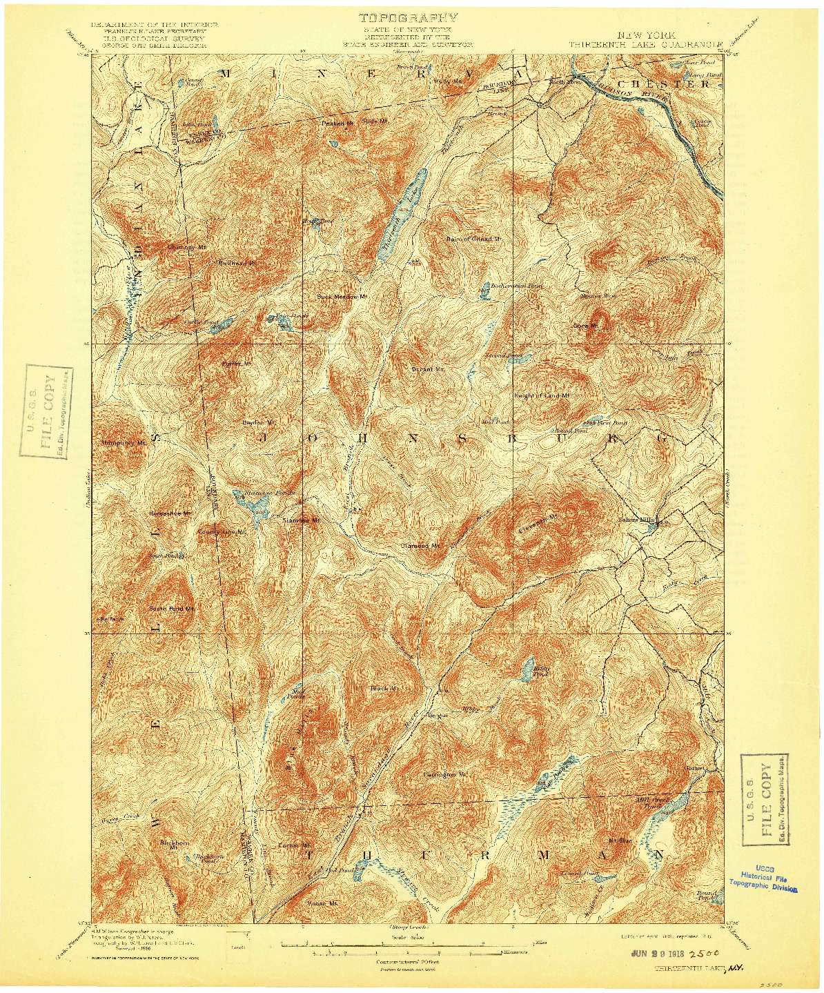 USGS 1:62500-SCALE QUADRANGLE FOR THIRTEENTH LAKE, NY 1898