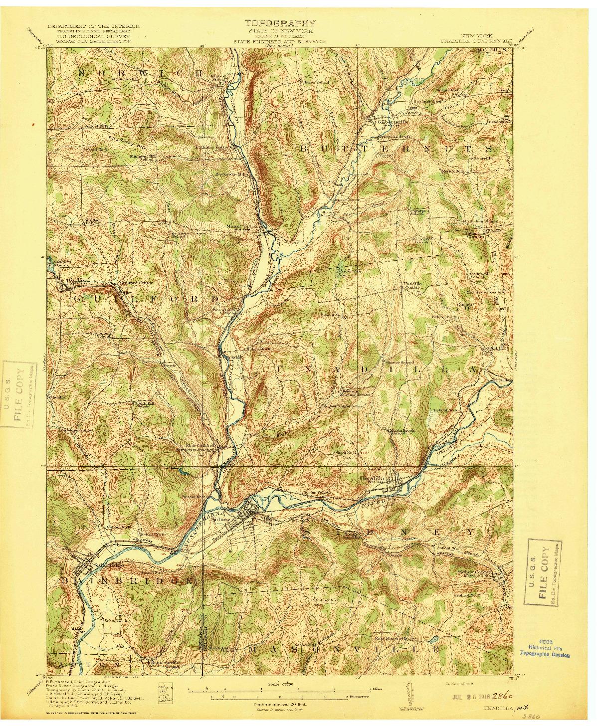 USGS 1:62500-SCALE QUADRANGLE FOR UNADILLA, NY 1918