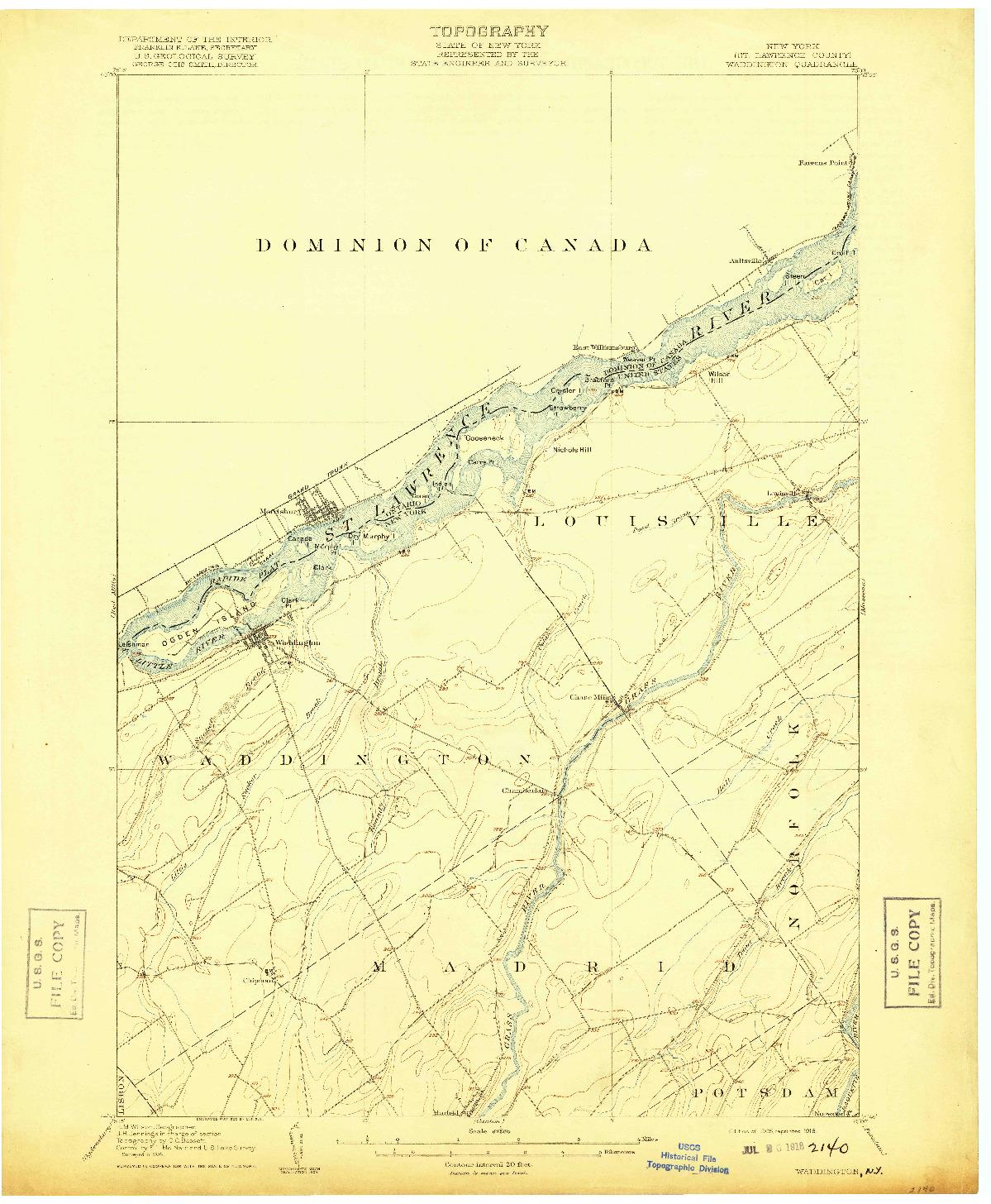 USGS 1:62500-SCALE QUADRANGLE FOR WADDINGTON, NY 1905