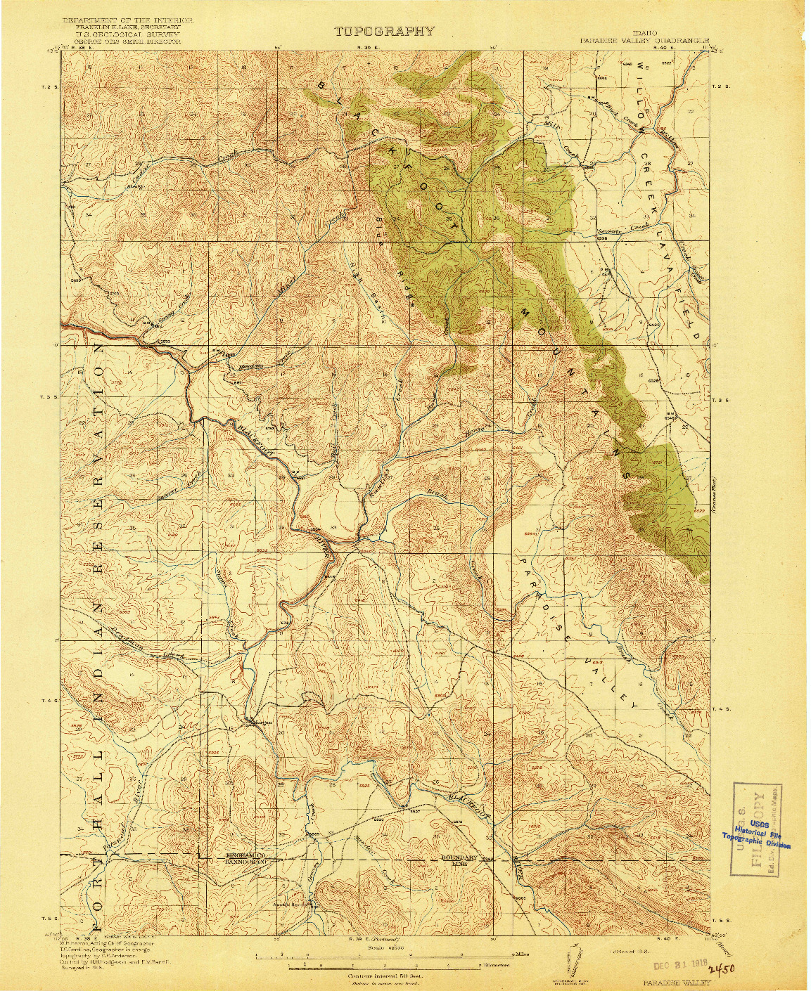 USGS 1:62500-SCALE QUADRANGLE FOR PARADISE VALLEY, ID 1918