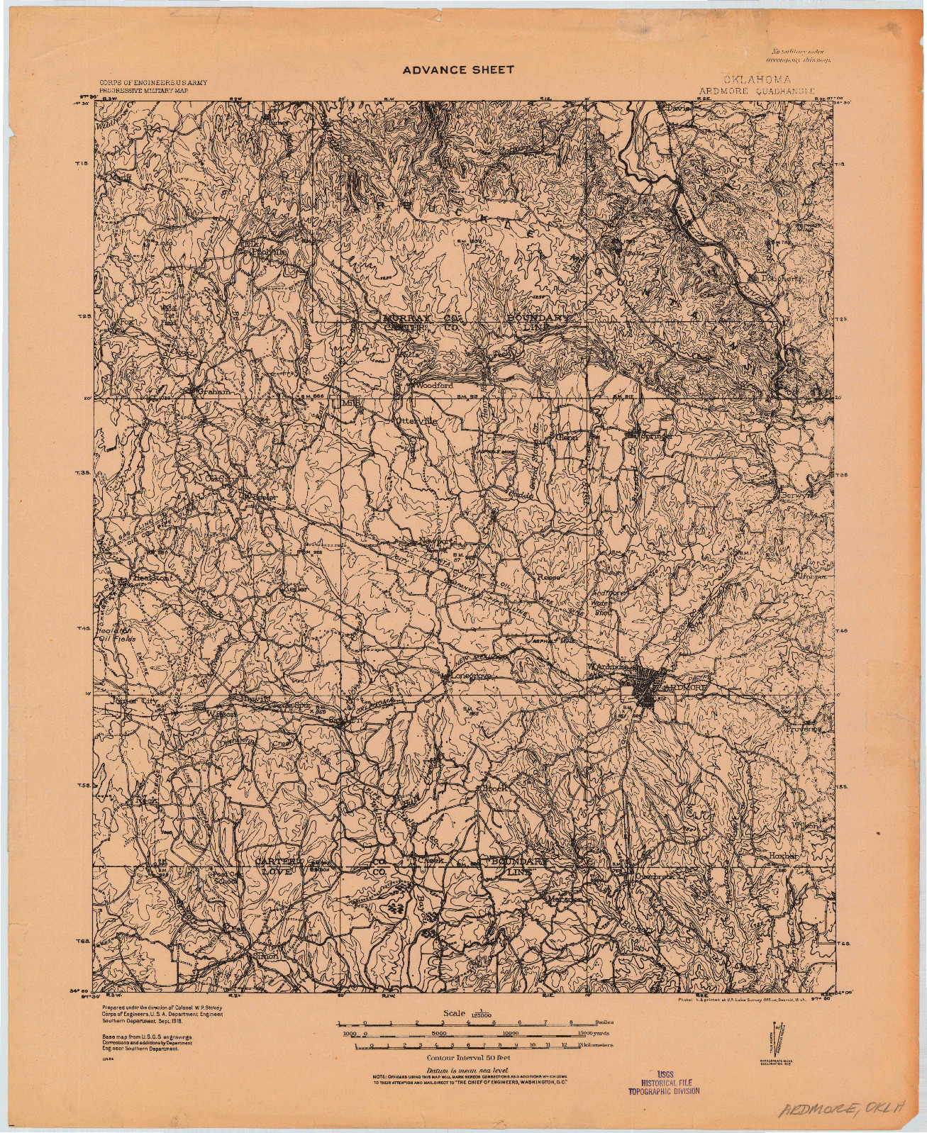USGS 1:125000-SCALE QUADRANGLE FOR ARDMORE, OK 1918