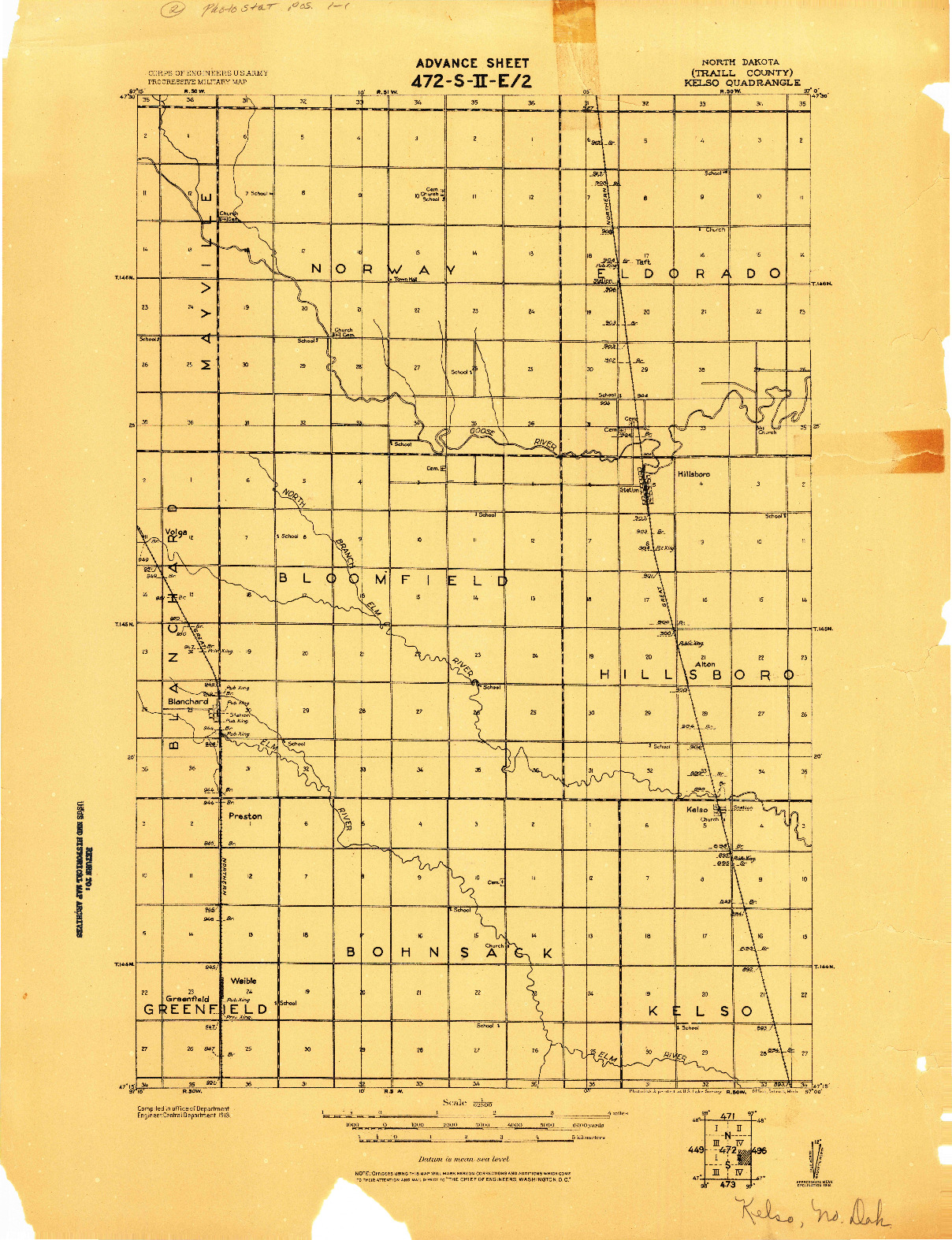 USGS 1:62500-SCALE QUADRANGLE FOR KELSO, ND 1918