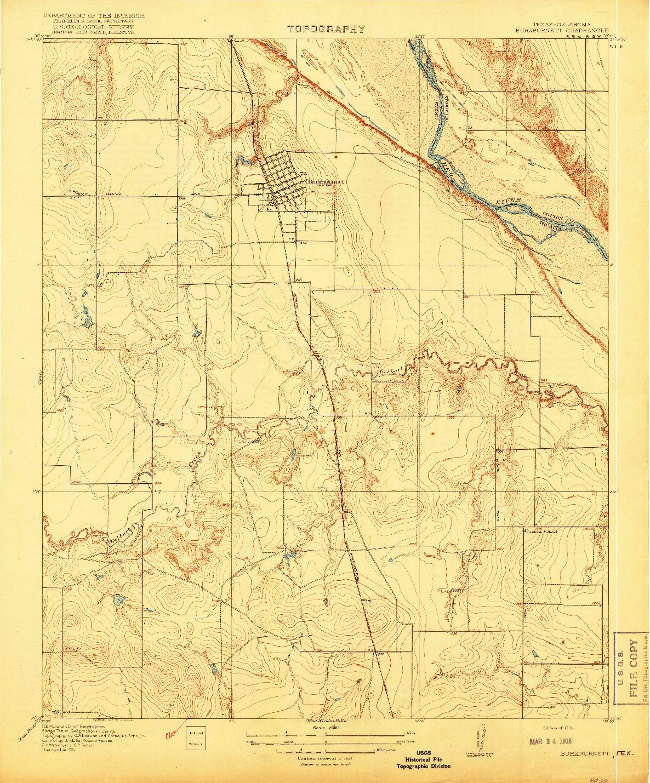 USGS 1:31680-SCALE QUADRANGLE FOR BUCKBURNETT, TX 1918