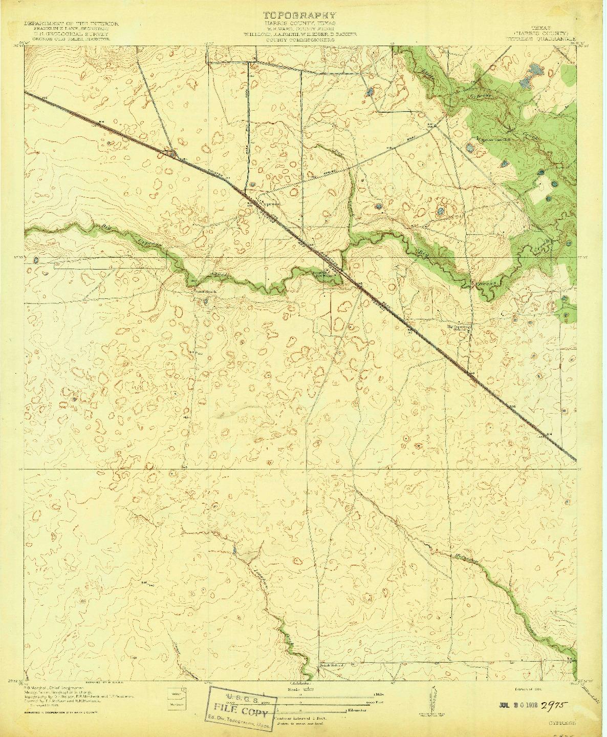USGS 1:31680-SCALE QUADRANGLE FOR CYPRESS, TX 1918