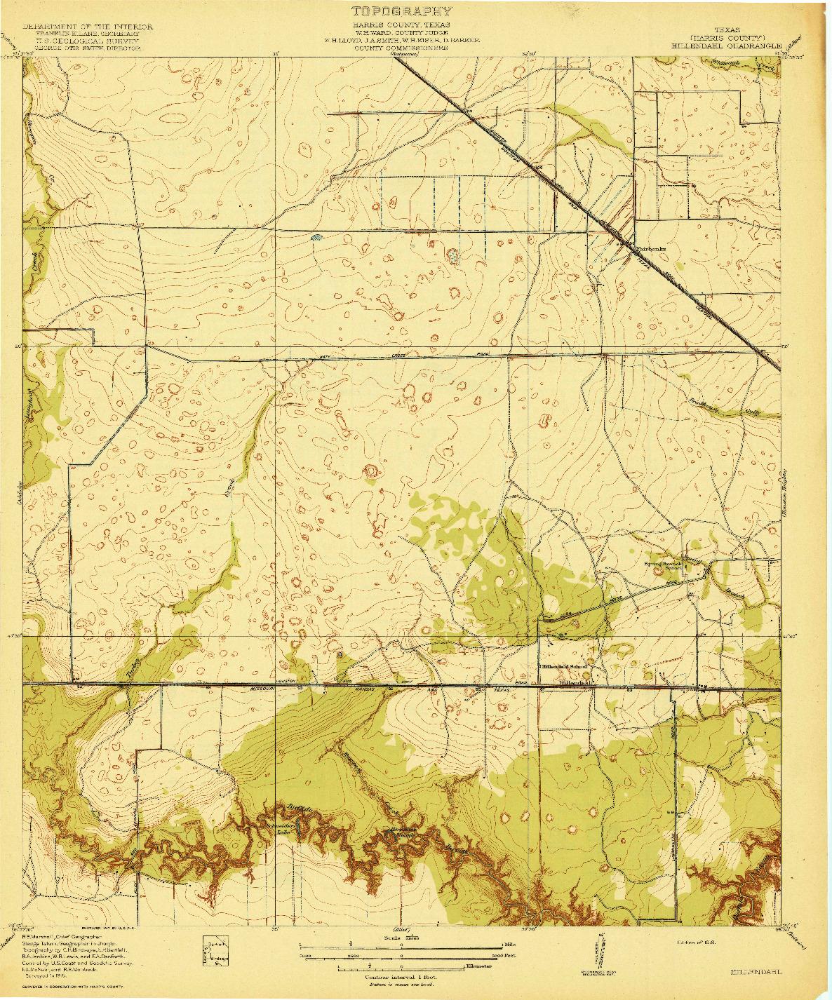 USGS 1:31680-SCALE QUADRANGLE FOR HILLENDAHL, TX 1918