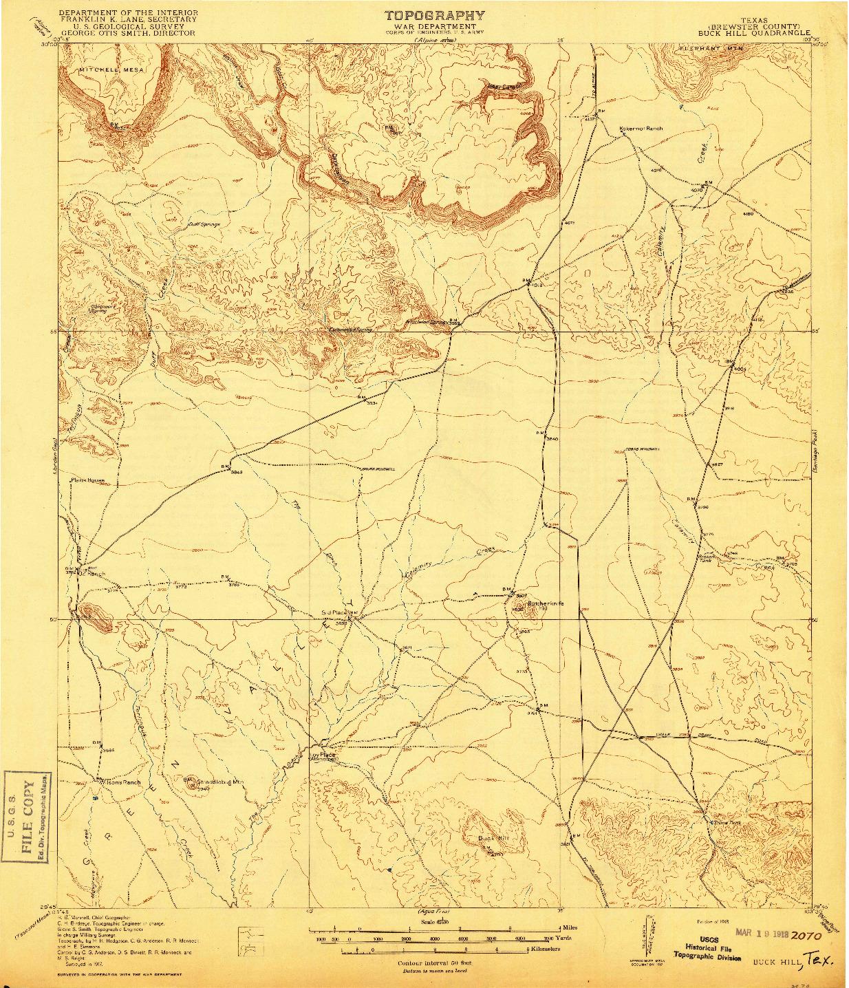 USGS 1:62500-SCALE QUADRANGLE FOR BUCK HILL, TX 1918