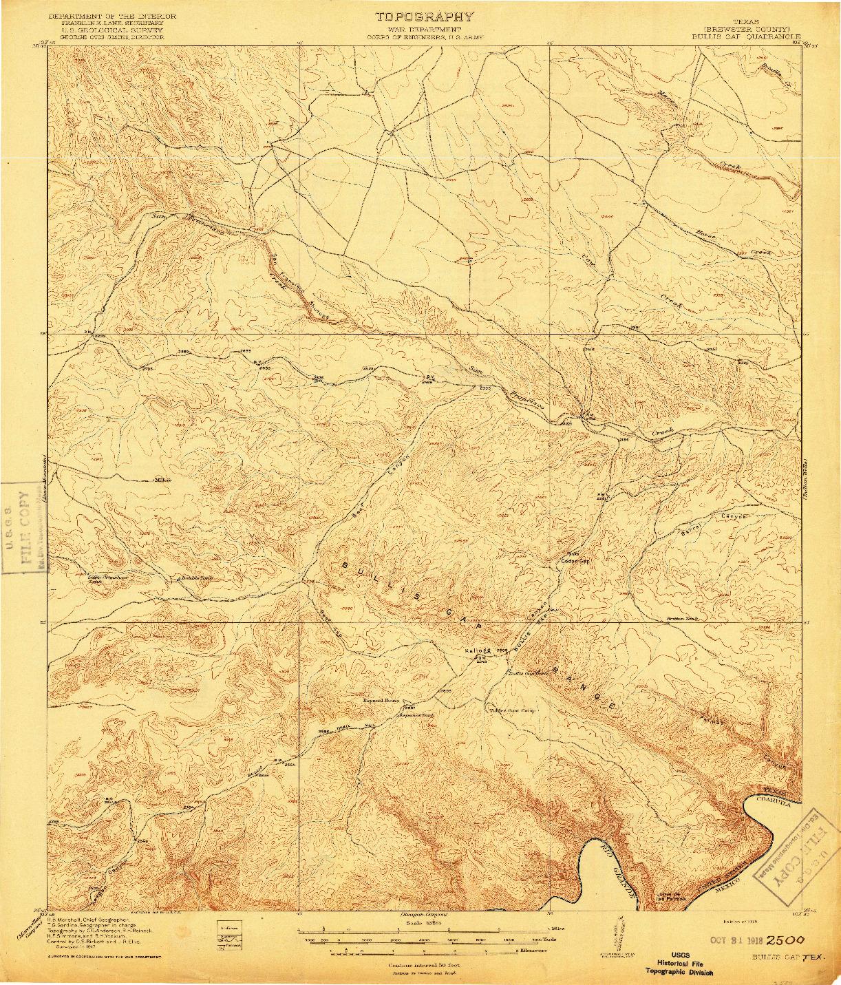USGS 1:62500-SCALE QUADRANGLE FOR BULLIS GAP, TX 1918