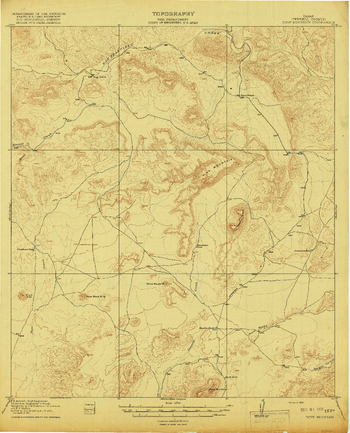 USGS 1:62500-SCALE QUADRANGLE FOR DOVE MOUNTAIN, TX 1918