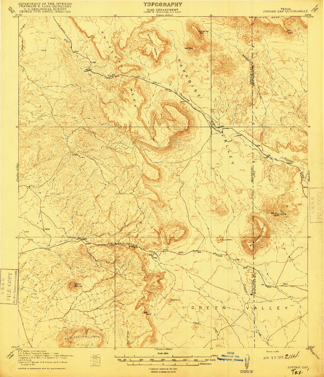 USGS 1:62500-SCALE QUADRANGLE FOR JORDAN GAP, TX 1918