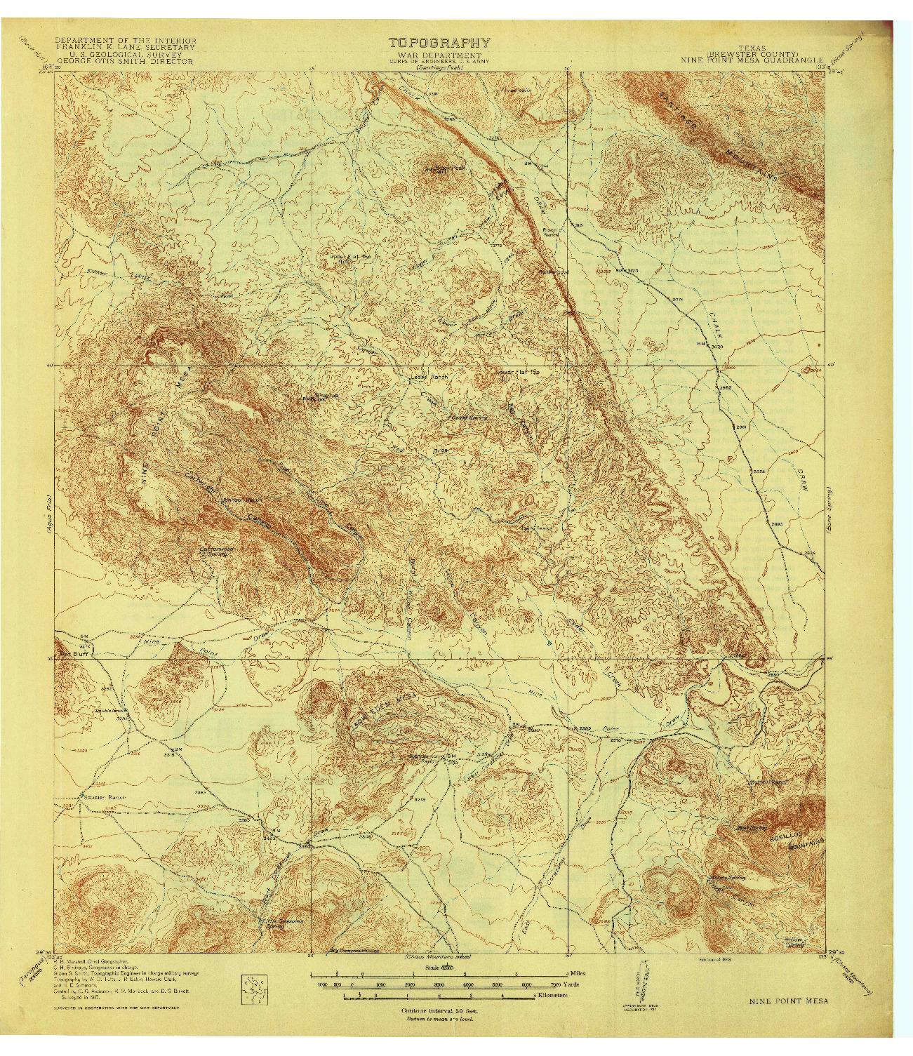 USGS 1:62500-SCALE QUADRANGLE FOR NINE POINT MESA, TX 1918