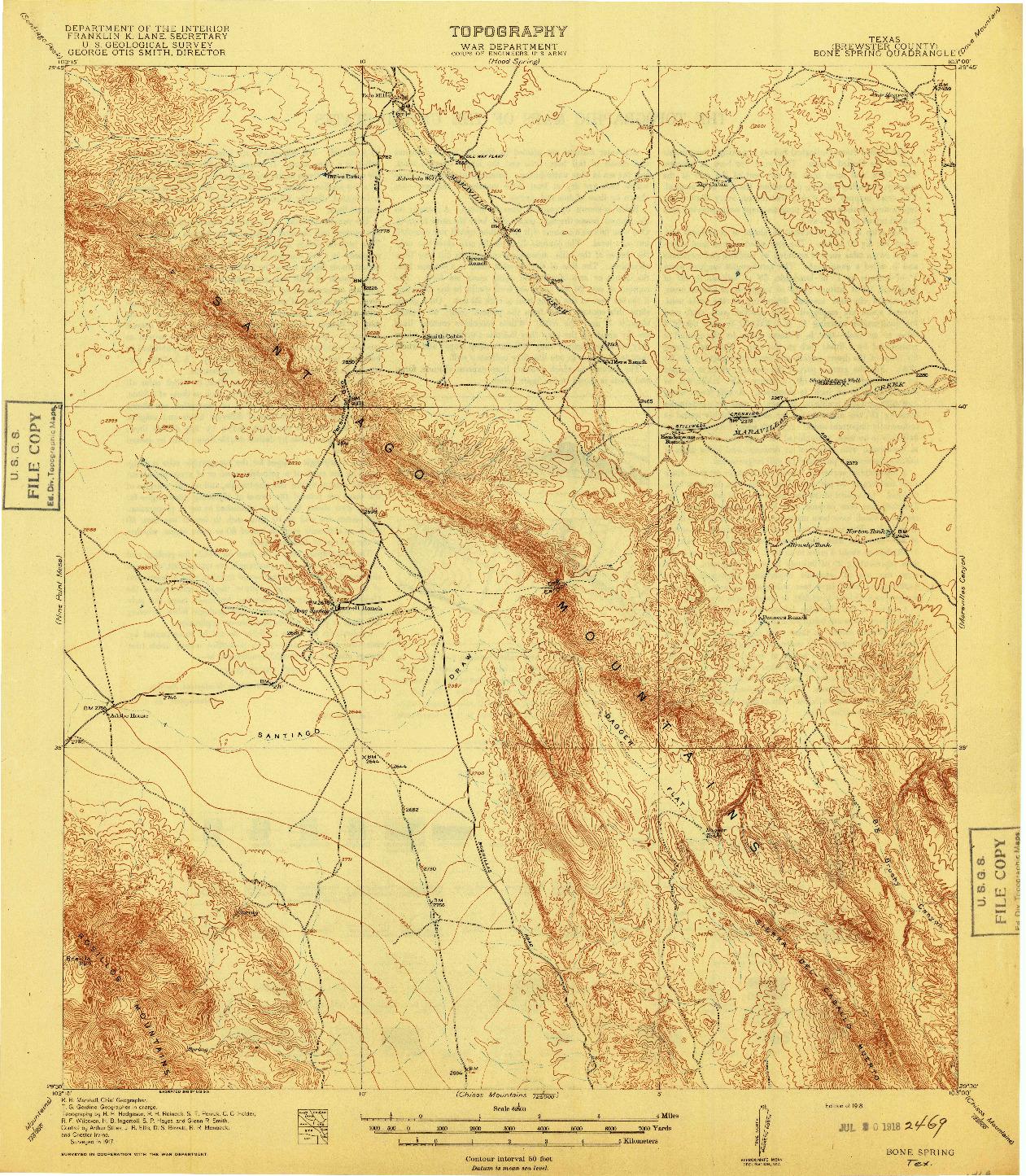 USGS 1:125000-SCALE QUADRANGLE FOR BONE SPRING, TX 1918