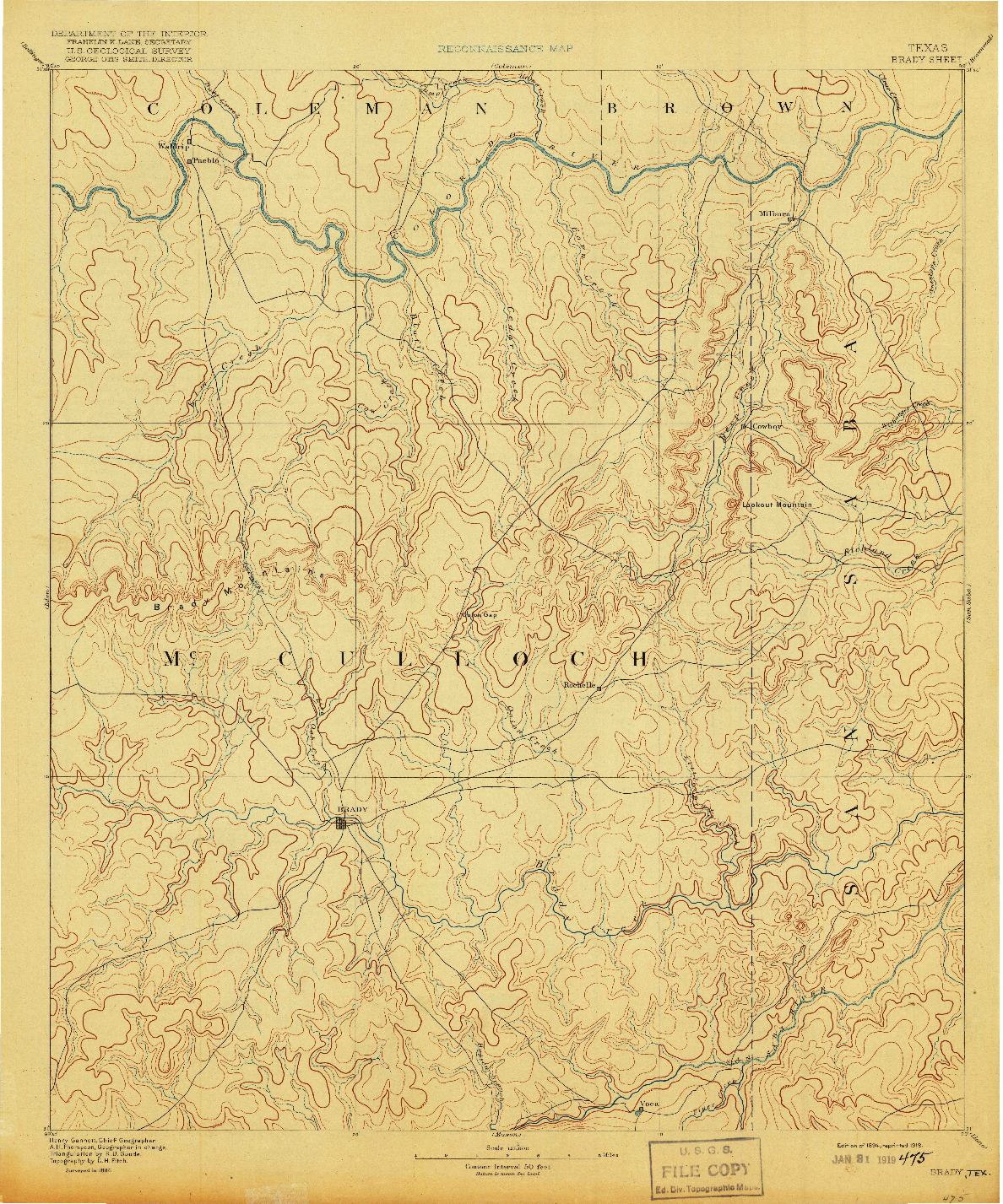 USGS 1:125000-SCALE QUADRANGLE FOR BRADY, TX 1894