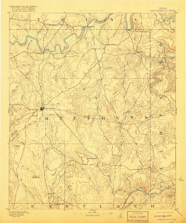 USGS 1:125000-SCALE QUADRANGLE FOR BRECKENRIDGE, TX 1890