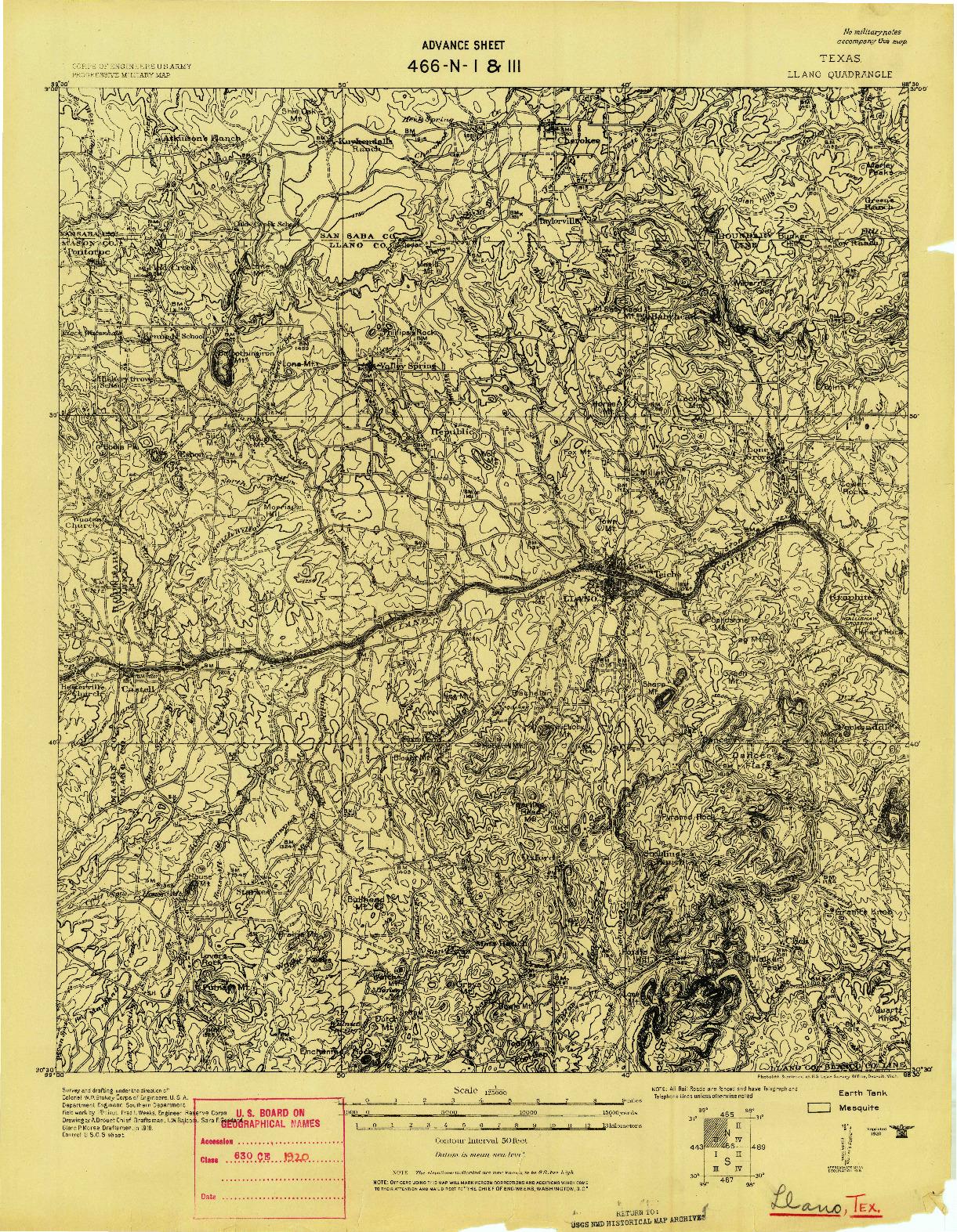 USGS 1:125000-SCALE QUADRANGLE FOR LLANO, TX 1918