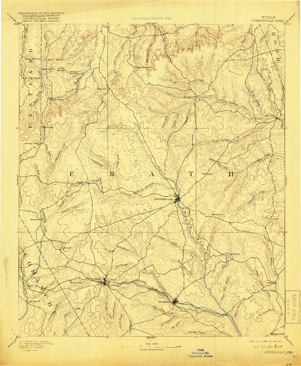 USGS 1:125000-SCALE QUADRANGLE FOR STEPHENVILLE, TX 1890