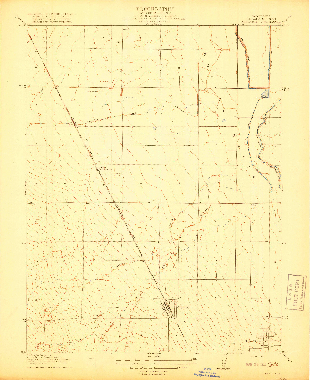 USGS 1:31680-SCALE QUADRANGLE FOR ARBUCKLE, CA 1918