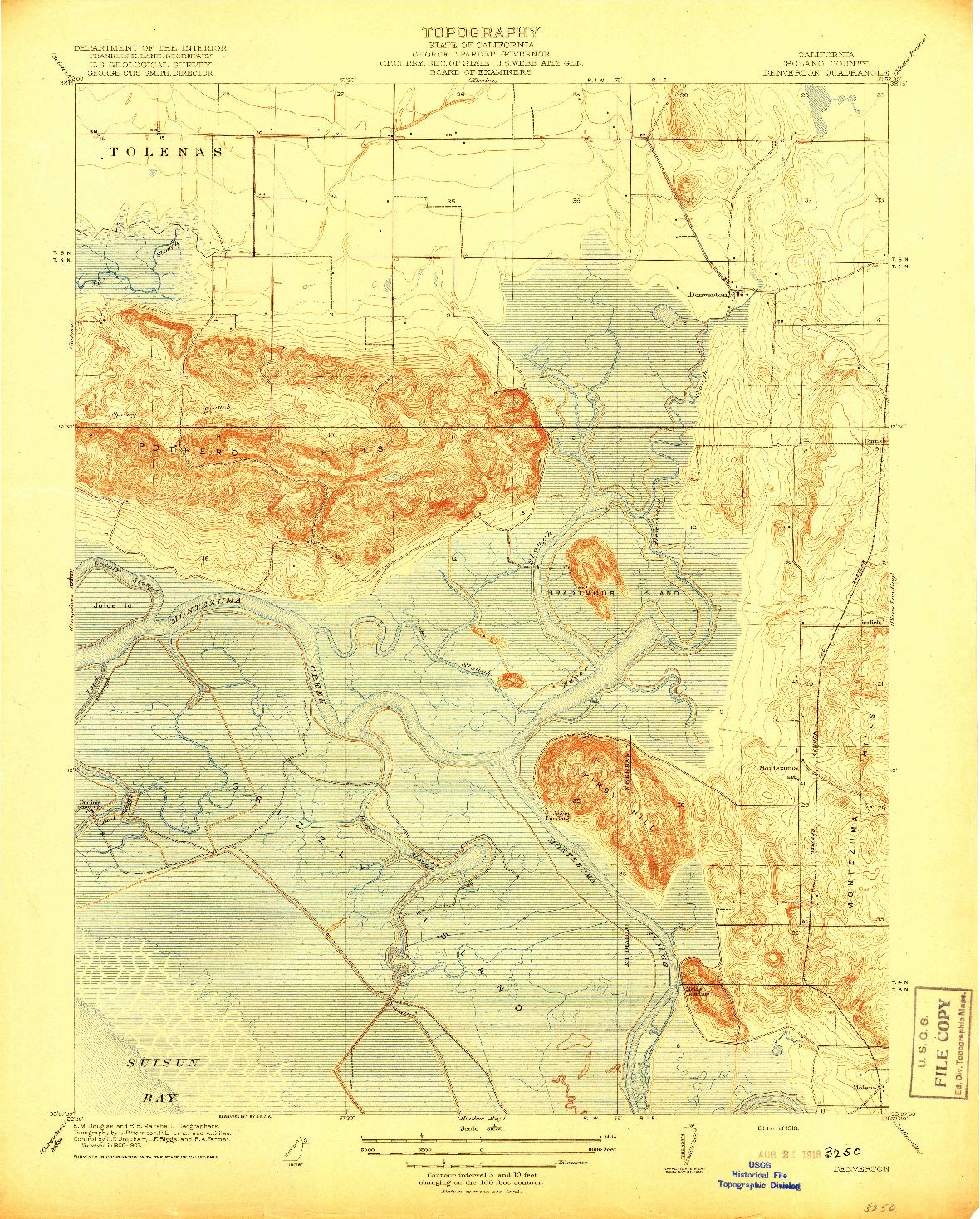USGS 1:31680-SCALE QUADRANGLE FOR DENVERTON, CA 1918