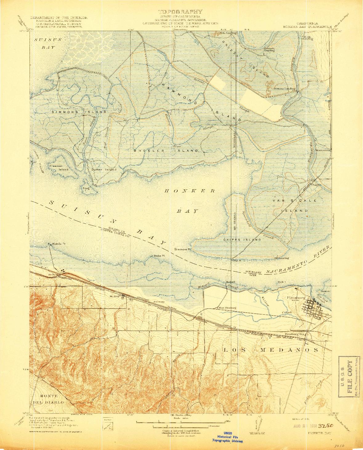 USGS 1:31680-SCALE QUADRANGLE FOR HONKER BAY, CA 1918