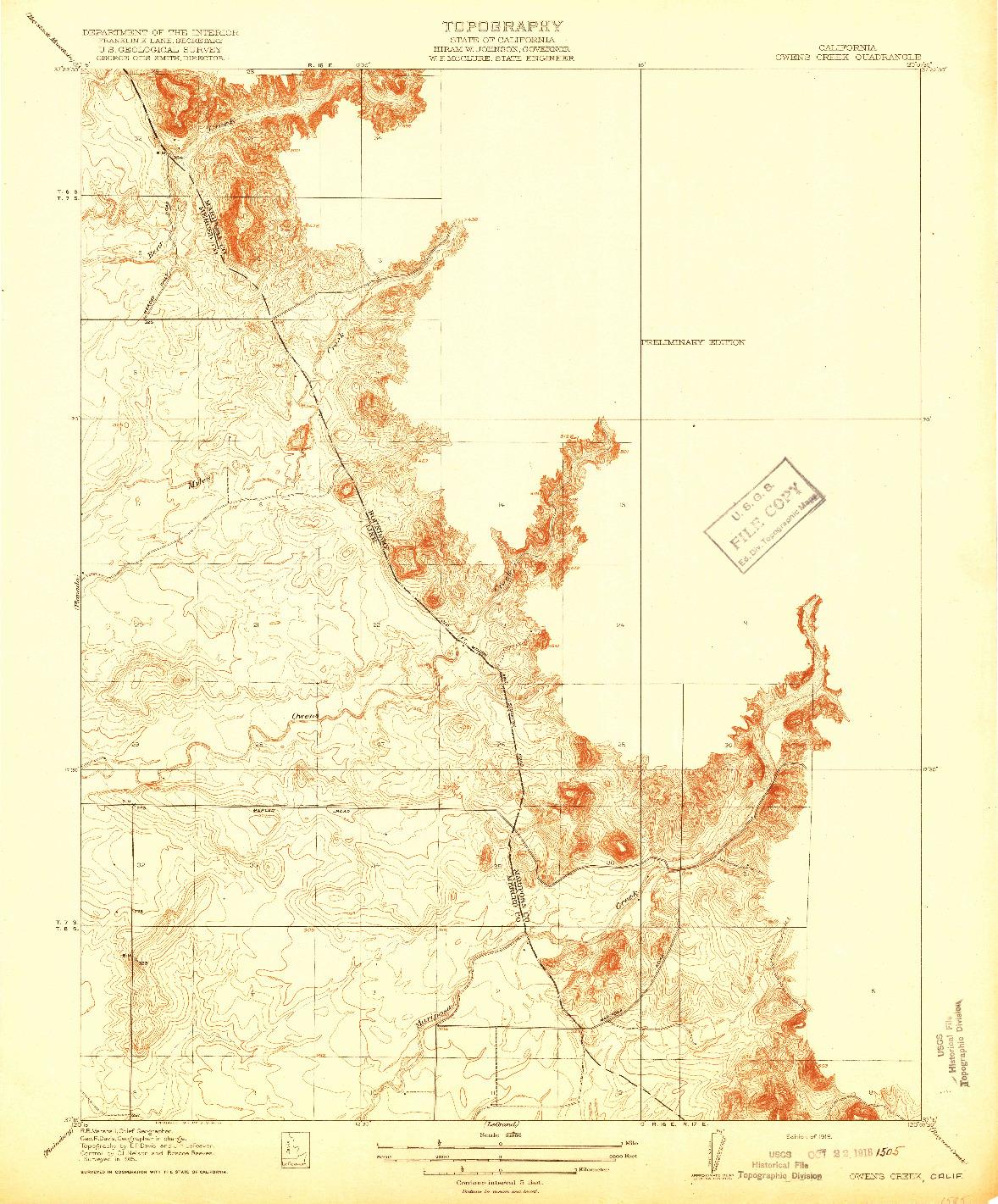 USGS 1:31680-SCALE QUADRANGLE FOR OWENS CREEK, CA 1918
