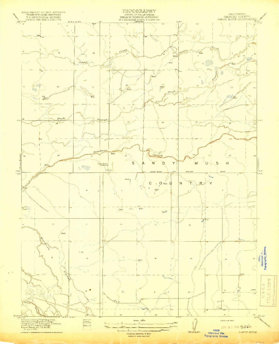 USGS 1:31680-SCALE QUADRANGLE FOR SANDY MUSH, CA 1918