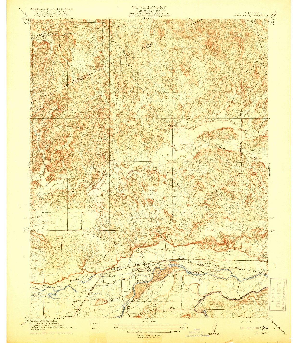 USGS 1:31680-SCALE QUADRANGLE FOR SNELLING, CA 1918