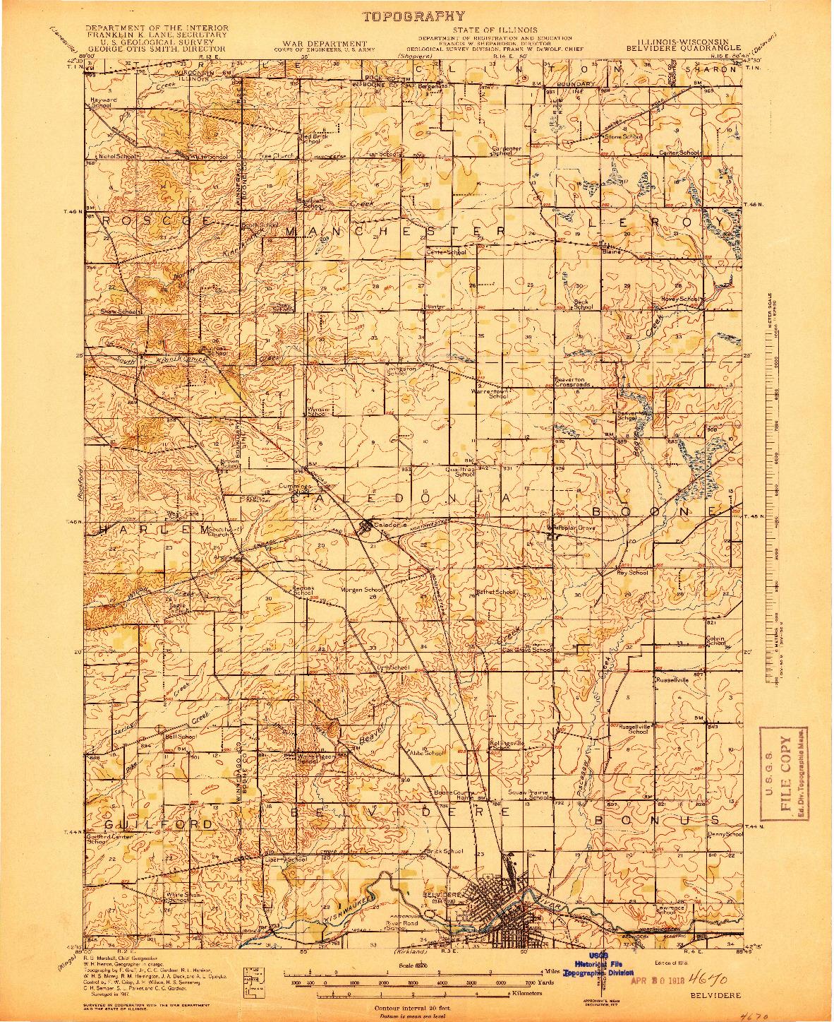 USGS 1:62500-SCALE QUADRANGLE FOR BELVIDERE, IL 1918