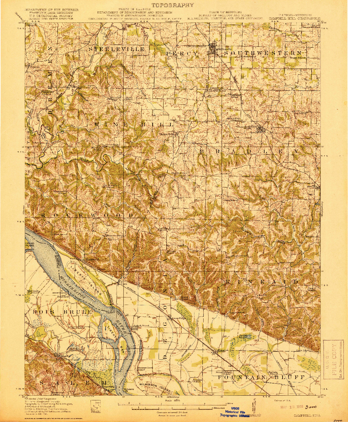 USGS 1:62500-SCALE QUADRANGLE FOR CAMPBELL HILL, IL 1918