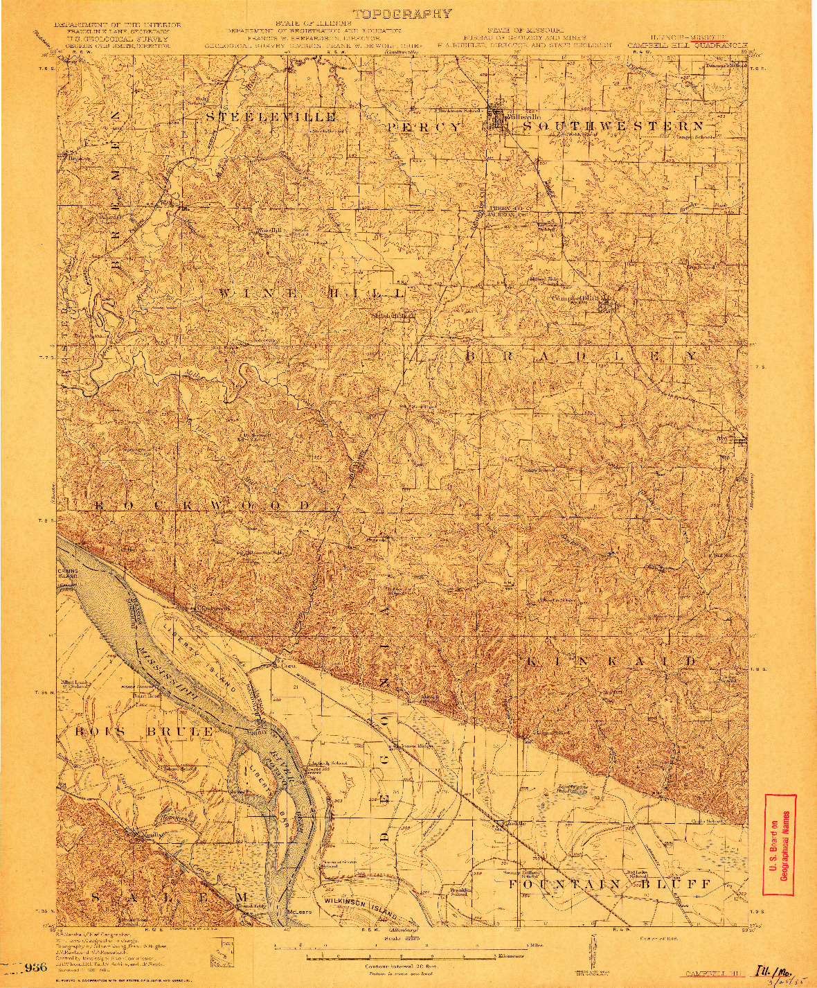 USGS 1:62500-SCALE QUADRANGLE FOR CAMPBELL, IL 1918